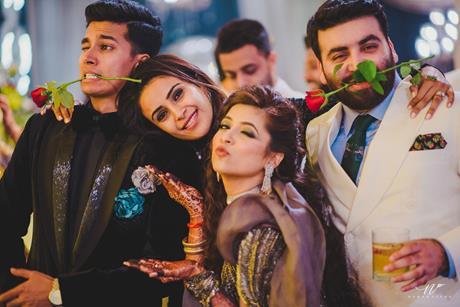 Abheshek & Smily   Chandigarh Weddings   Wedding reception   Groomsmen and bridesmaids   Candid pictures   REal Indian weddings  