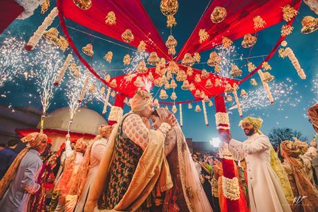 Abheshek & Smily   Chandigarh weddings   Candid pictures   Pheras   Indian weddings   Sabyasachi bride and groom   Fireworks   Indian wedding photography   Mandap decor  