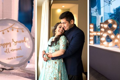 Harsh & Dhawani | Cute Couples | Real Indian weddings | Personalized engagement decor | Engagement ideas | Personalization ideas | Engagement Photoshoot ideas | Tambourines | Personalized props |