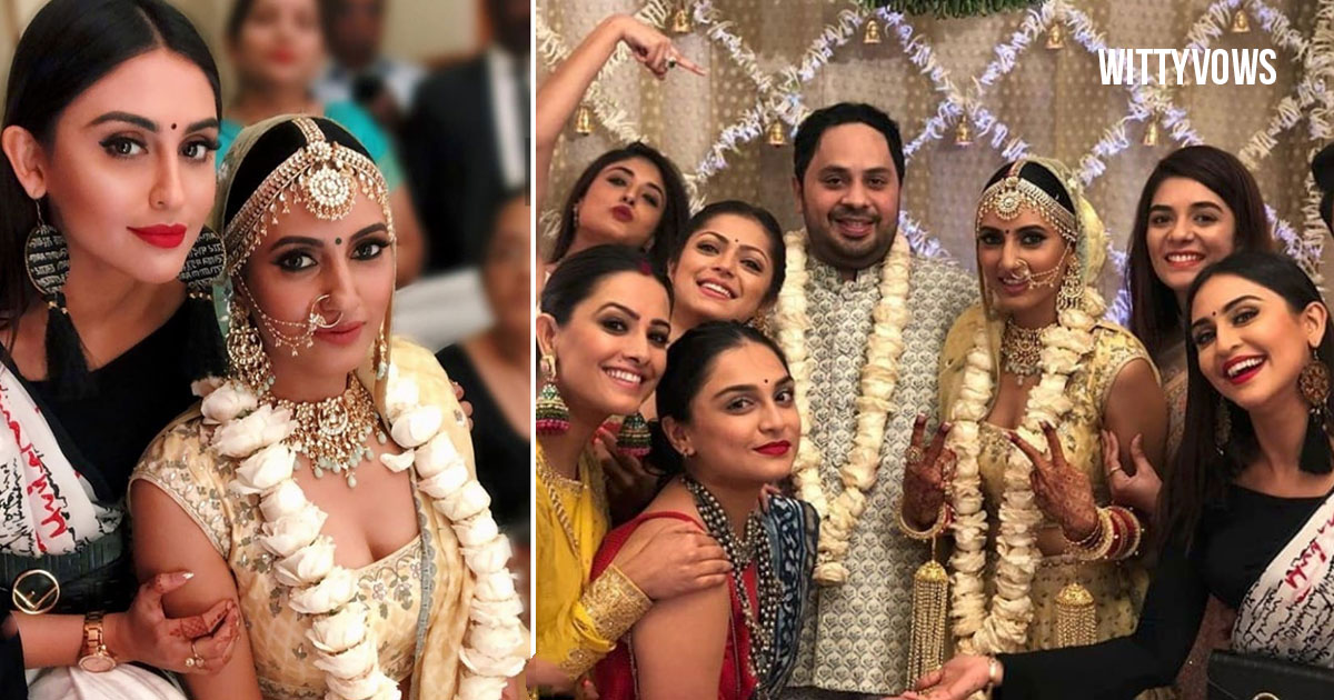Ishqbaaz Actress Additi Gupta Wedding Photos with Drashti Dhami Krytsle D Souza Kamra Anita Hasanandani and Surbhi Jyoti in a gorgeous Whiet and gold lehenga
