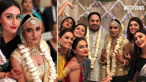 Ishqbaaz Actress Additi Gupta Wedding Photos with Drashti Dhami Krytsle D Souza Kamra Anita Hasanandani and Surbhi Jyoti in a gorgeous Whiet and gold lehenga