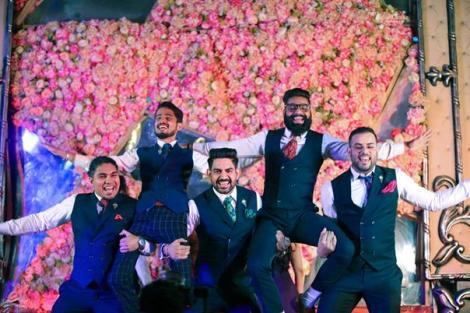 Noor and Akshay | Delhi Weddings | Bridal gown | Groom squad | Groomsmen | Menswear | Groom and his friends performing for bride | Wedding Photography |