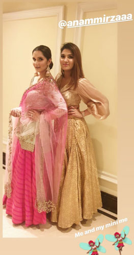 Sania and Anam Mirza strike a pose for Neeti Mohan's Wedding