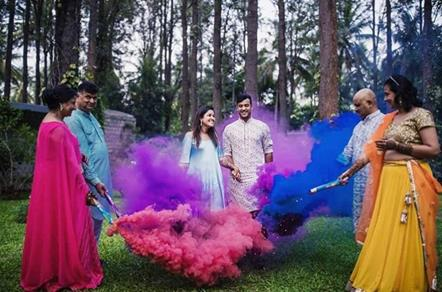Smoke Bombs | Family Pictures | Post Wedding Photo shoot | Couple Photoshoot | Holi party | First Holi | Newlyweds | Couple goals | Holi Photoshoot | Smoke bombs Photography | Candid Photography |