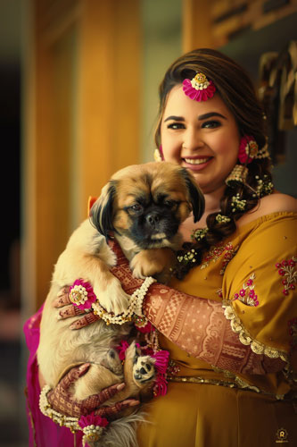 Bridal portrait | Dog Parents | mehendi look | Real Indian Brides | Dogs | Pets | Dog Parents |
