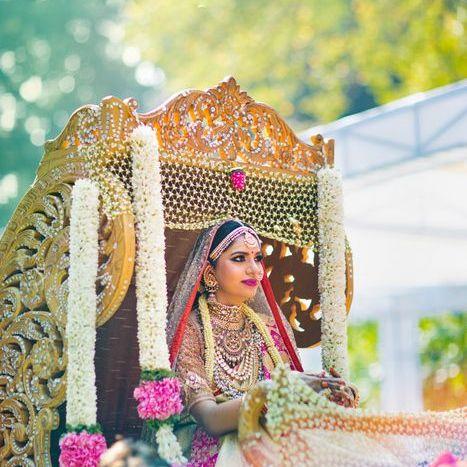 Palki ideas | Indian Wedding | Vidaai | Bidai | Palki decoration | Trending vidai ideas | Wedding photography | Stunning | Silver Doli | Bridal inspiration | Mogra | South Indian bride |