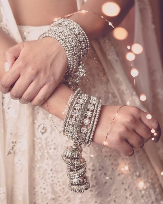 Bangles with jhumkis | Silver jewels | Silver bangles | Traditional | Bride to be | Pretty Pictures |