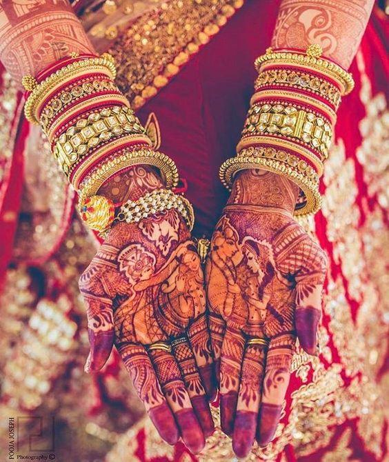 Beautiful Bridal Mehendi | Bridal henna | Red chura | Chooda | Trousseau | diamond bangles | portrait henna | couple