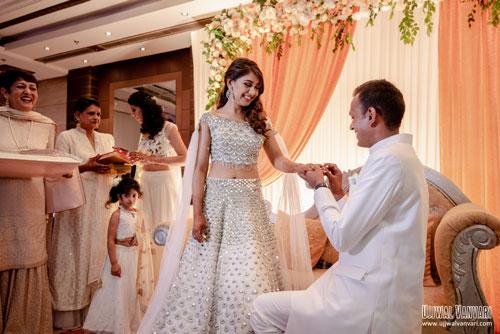 Indian celebrity Niti Taylor and Parikshit's engagement | Indian celebrity wedding | Twinning couple outfits | engagement outfit | Niti Taylor