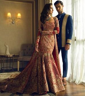 Fish cut lehenga   Designear wear   red and gold lehnga with a jacket   off sholder blouse   Bridal fashion