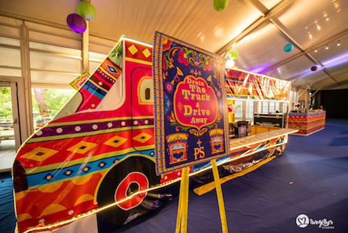 Jumbo truck | Kitschy fun decor | Mhendi decor inspiration | Mehndi | Bar ideas |