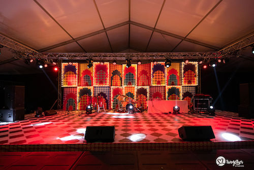 Dance stage decor | Kitschy and quirky | Prints and patterns | Sangeet night decor inspiration |