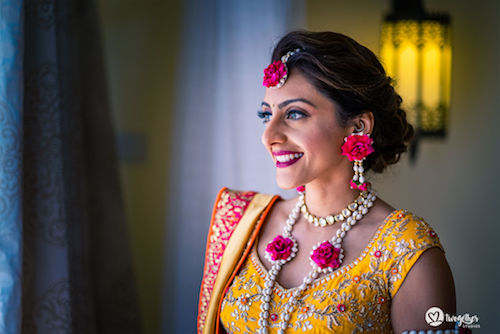 Beautiful bride in floral jewellery | Yellow lehenga | Bridal fashion | Indian Bridal look |