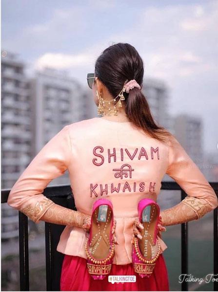 budget mehendi lehenga outfits | peplum jacket with an embroidered back | peplum with net back | customised blouse