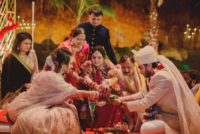 bride captured during wedding rituals   A dreamy wedding of Priyanka and Parth in Udaipur