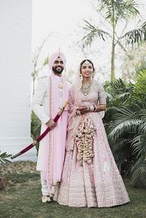 Pankhuri & Gobind | Kalire inspiration for Indian brides | Happily ever after | chandigarh weddings | Anushree Reddy pink and gold lehenga |