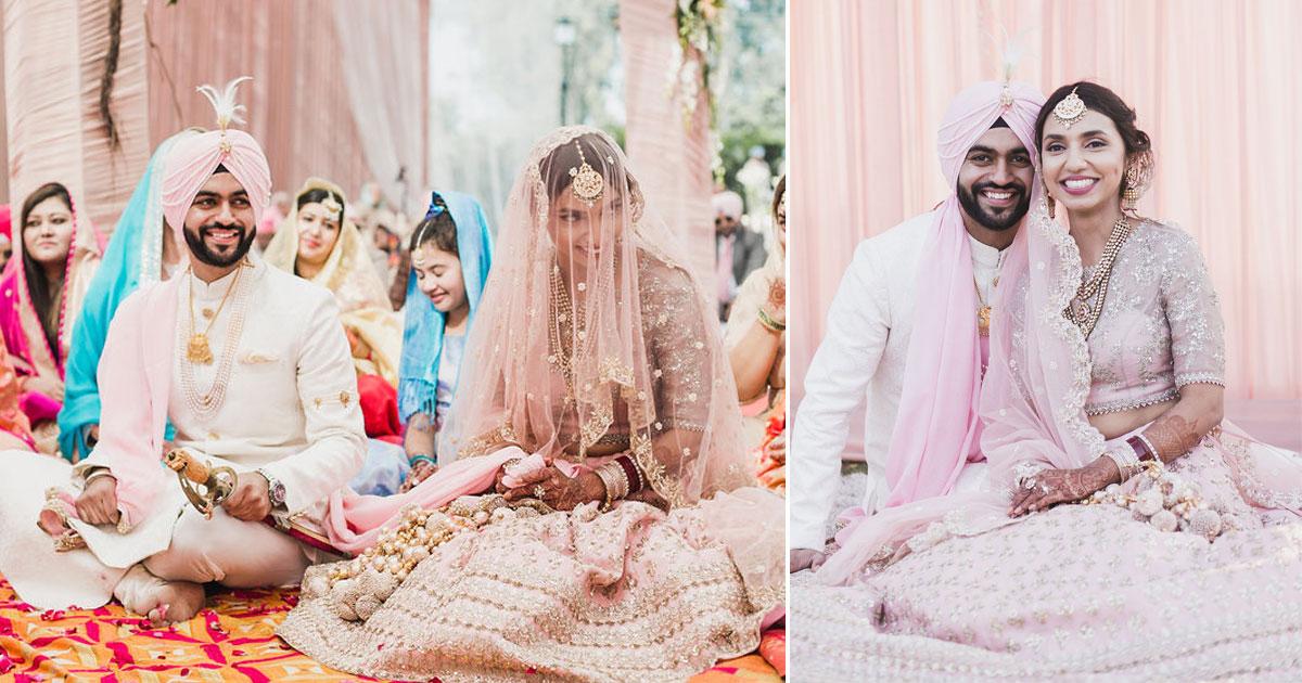 panipuri & gobind Sikh wedding in pastel lehenga and veil