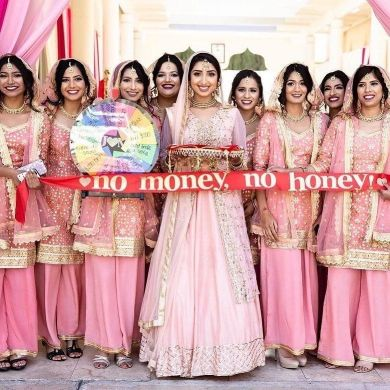 Bridesmaids welcoming the groom   Spin the wheel game   groom welcome ideas