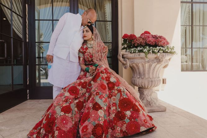 bride riya spending some moments with her dad before getting married | a stunning wedding in California