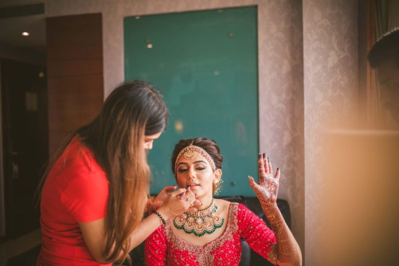 Photoshoot of Indian bride getting ready