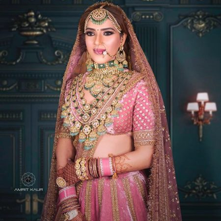 green emerald raani haar | pink bridal lehenga for indian brides 2020