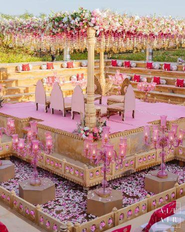 mandap decoration ideas with pink theme | indian mandap decor ideas