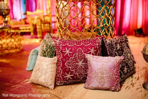 colorful cushions at Indian wedding | Budget decor ideas to get fab wedding decoration with a tent wala also!