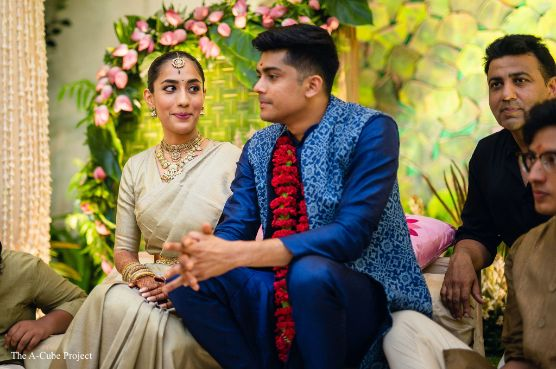 inddian couple at their engagement ceremony