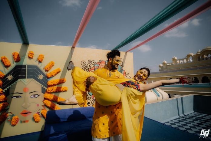 candid pictures form haldi ceremony | Fab Matching Outfit Ideas