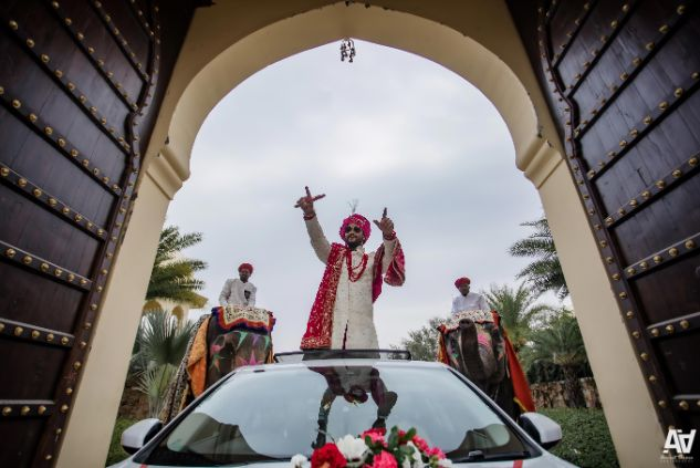 groom entry in a car