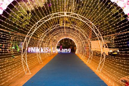 fairy light entrance to an Indian wedding