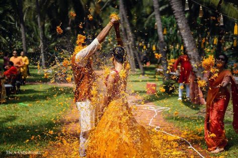 floral holi | indian couple playing floral holi