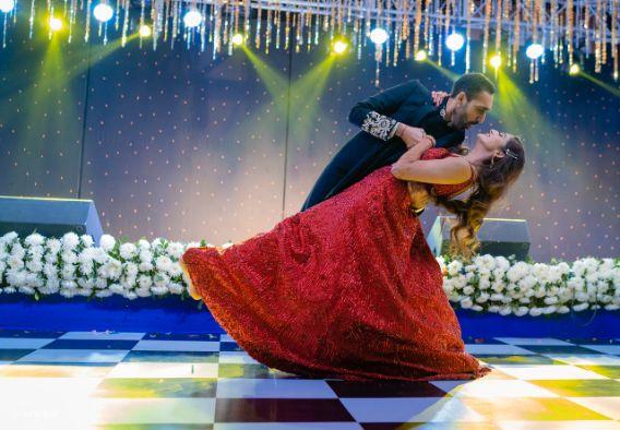 stunning red lehenga for engagement ceremony