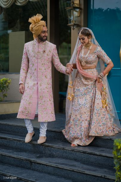hand in hand, together till the end, bride and groom walking towards their big day | Jaipur Wedding