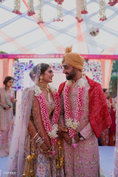stunning varmala for the couple in pink   Jaipur Wedding