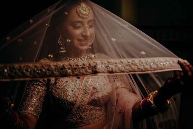 bridal Veil Shot | Rimple & Harpreet Wedding Lehenga