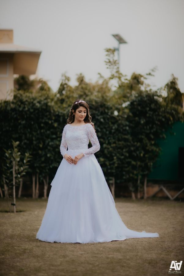indian bride in white gown