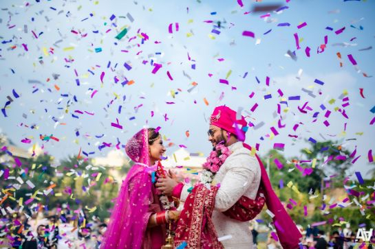 | indian wedding | pink | Fab Matching Outfit Ideas | confetti shower