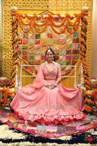 Indian brides mehendi look   Modern Customised Lehenga Embroidery