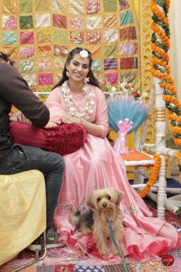 cute pet dog of the bride | Modern Customised Lehenga Embroidery