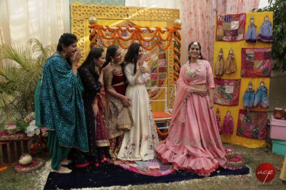 bridesmaids shoot at mehendi ceremony | Modern Customised Lehenga Embroidery
