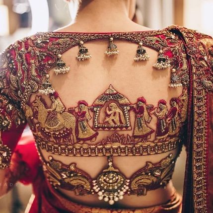 indian hand embroidery on lehenga blouses | south indian style blouse designs for 2020 indian brides | south indian style back blouse designs | #weddings #wittyvows #lehenga