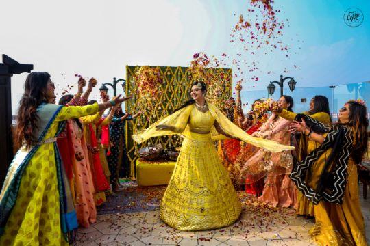 yellow lehenga for the bride's haldi ceremony
