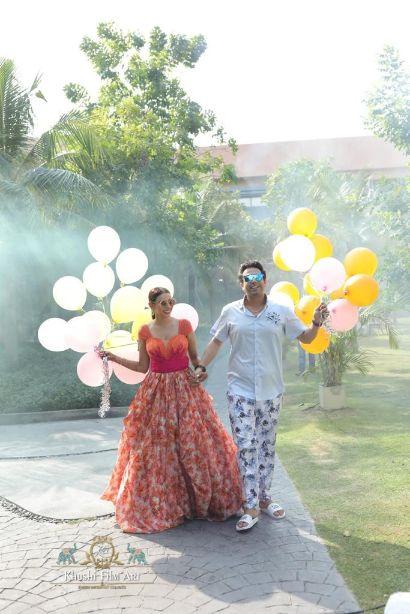 stunning balloon release on wedding day | Bride in Anita Dongre Lehenga