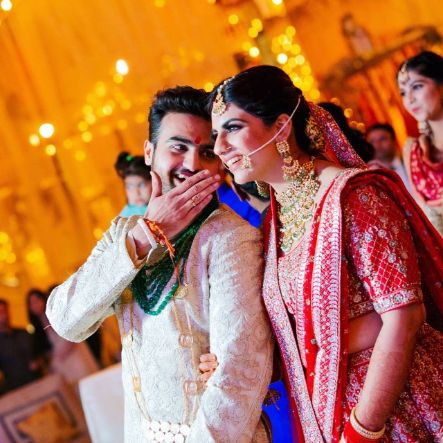 candid bride nad groom photos | Anita Dongre Wedding Lehenga