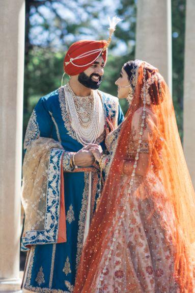 bride in rimple and harpreet lehenga   groom sherwani   Cutest Surprise Proposal Ideas
