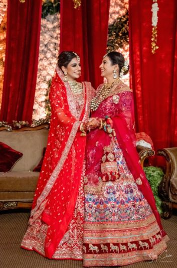 bride with her mother | Anita Dongre Wedding Lehenga