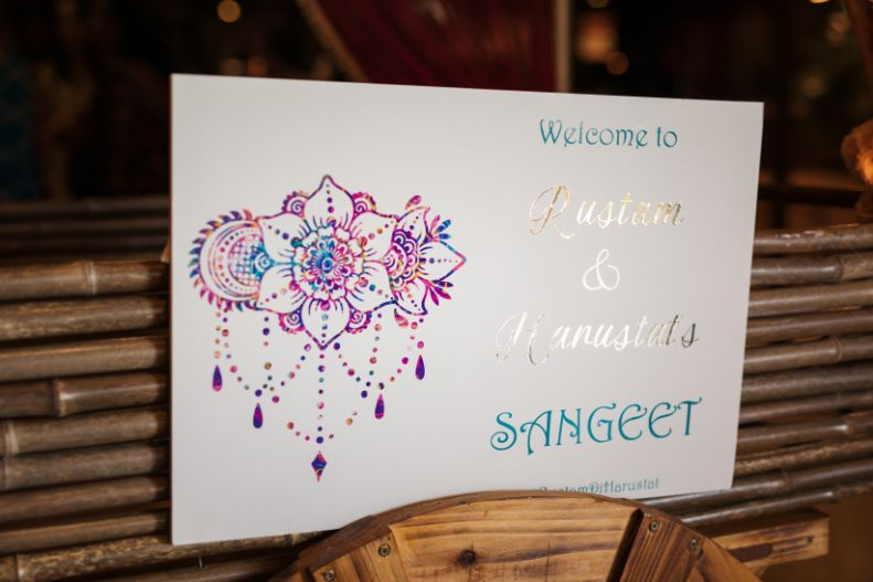 sangeet ceremony | sign boards at Indian weddings