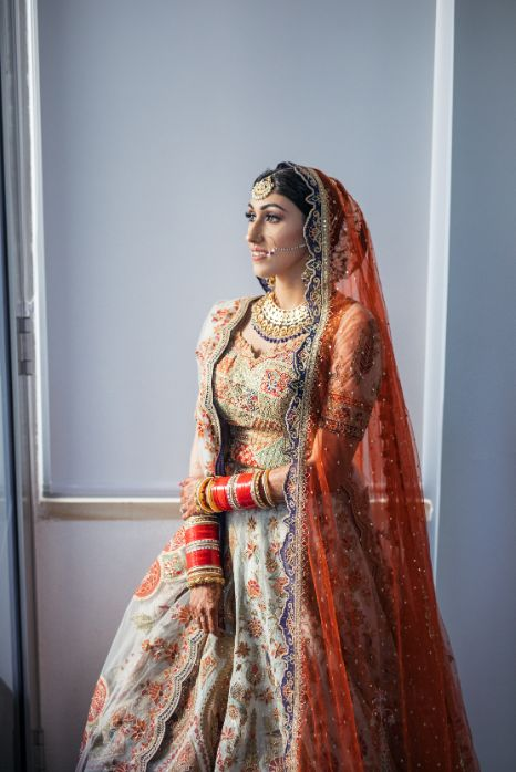 bridal lehenag   stunning ivory lehenag for the bride   Cutest Surprise Proposal Ideas