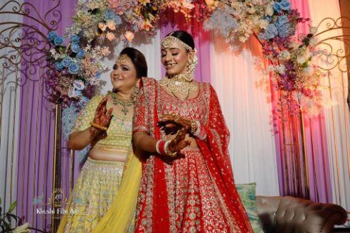beautiful red wedding lehenga Bride in Anita Dongre Lehenga